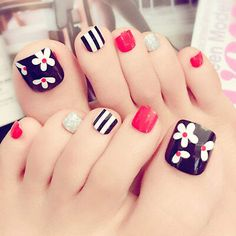 Other Nail Care Women Beauty Toe Nails Tips Toe Feet False Full Nail Tips … Andere Nagelpflege Frauen Beauty Toe Nails Tipps Toe Feet False Full Nail Tips Maniküre Kits Pedicure Designs, Pedicure Nail Art, Toe Nail Designs, Toe Nail Art, Acrylic Nails, Pretty Toe Nails, Cute Toe Nails, My Nails, Feet Nail Design