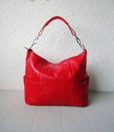Handbag Jolie medium red---Adeleshop handmade Leather bag Messenger Diaper bag Shoulder bag Tote Handbag Hip bag Women