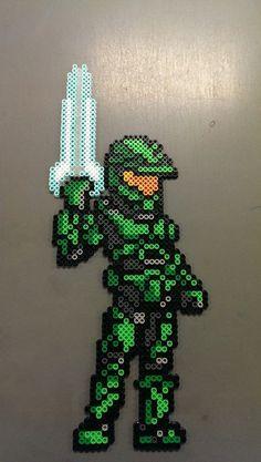 Master Chief w/ Energy Sword Perler Bead Sprite
