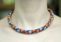 Bead Corchet Necklace in Orange Purple and by HeriniasJewelryChest, $65.00