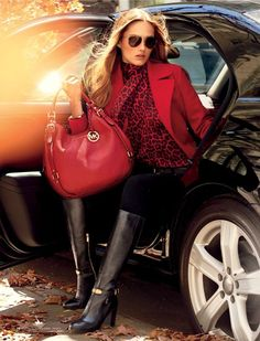 Michael Kors Red and Black Leopard shirt, red pea coat & tote, black boots