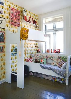 bklyn contessa re:pin :: via handmade charlotte & others :: cheery + cozy small space solution Ferm Living Wallpaper, Funky Wallpaper, Mini Loft, Inspiration For Kids, Modern Kids, Shared Rooms, Cool Rooms, Kid Spaces, Little Girl Rooms