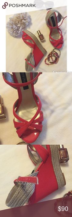 WHBM Sandals Wedge sandals,in a pale red,w/rope accents.Rope accent runs on bottom of shoe & the back of ankle.Heel 4.5 inches & platform 1 inch.buckle closure.Never worn.Size 6.Smoke free home.❌❌No Trades❌❌ White House Black Market Shoes Wedges