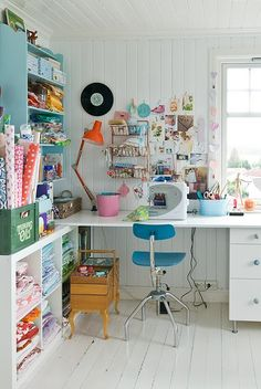 colourful desk area