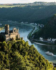 The Middle Rhine at Sankt Goarshausen, Rhineland-Palatinate, Germany