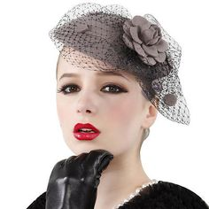 Cheap hat baby, Buy Quality hat fashion directly from China hat sweater Suppliers: Gray Womens Vintage Fascinator Wool Hair Pillbox Hat Rose Veil Cocktail Party Wedding Wholesale Pillbox Hat, Fascinator Hats, Beret, Hair Fascinators, Bridal Headpieces, Outfits With Hats, Unique Outfits, Wedding Wholesale, Flower Veil