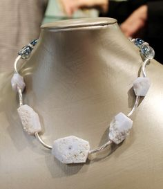 Necklace of blue lace agate and quartz with silver