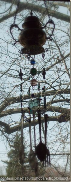 Wind chime- Tea Pot and old silverware.