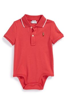 455b1fba Ralph Lauren Tipped Polo Bodysuit (Baby Boys) available at #Nordstrom Polo  Outfit,