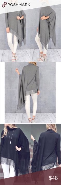 SAMIRA asym fringe poncho top - GREY How fun is this turtle neck long sleeve asymmetrical fringe top  NO TRADE, PRICE FIRM Bellanblue Tops