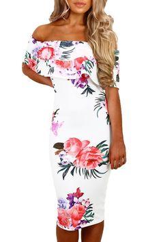 Cascading Ruffles White Multi Floral Bardot Midi Dress MB61536-1 – ModeShe.com