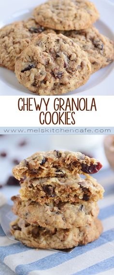 Loaded with so many tasty flavors and textures, these delicious granola cookies are incredible (can use homemade or storebought granola)! Soft and chewy, they are a cookie lover's dream! Granola Cookies, Cookie Recipes, Dessert Recipes, Good Food, Yummy Food, Breakfast Cookies, Breakfast Sandwiches, Chocolate Desserts, Sweet Tooth