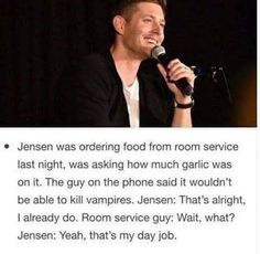 Oh my Chuck, Jensen!!!! (I think I would tell him to forgo stakers and shit, go for decapitation.... He'd probably say: yeah, I know... And I'd die...)