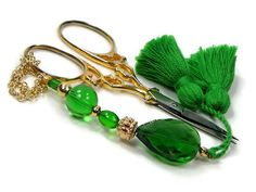 Scissor Fob Beaded Emerald Green Scissor Minder by TJBdesigns Tennis Bag, Knitting Supplies, How To Make Beads, Emerald Green, Scissors, Color Inspiration, My Design, Buy And Sell, Purses