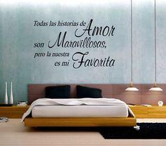 Vinilo con frase para decorar habitaci n con el texto de Murales para recamaras matrimoniales