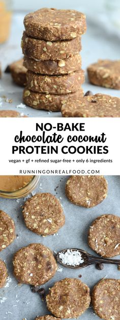 These chocolate coconut protein cookies require just 6 ingredients and are only 123 calories each! No baking required! http://runningonrealfood.com/chocolate-coconut-protein-cookies/
