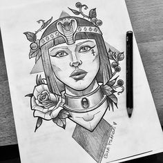 Little rough pencil sketch for today's appointment. Looking soooo forward to tattooing this cleopatra 😍 Art Drawings Sketches, Tattoo Sketches, Tattoo Drawings, Skull Drawings, Pencil Drawings, Egyptian Drawings, Egyptian Art, Body Art Tattoos, Sleeve Tattoos