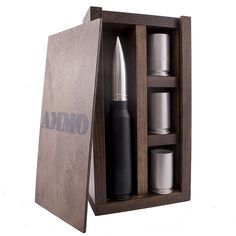This is truly a unique gift that includes a wall mounted ammo box with a 30MM whiskey flask (standing at 11.25″ tall!) and 3 30MM shot glasses all made from once fired 30MM cannon rounds. The shot glasses and flask are 100% safe to drink from and contain no chemicals or toxins. The shot glasses