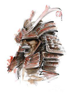 Samurai Warrior Japanese Armor  Full Face Mask Painting