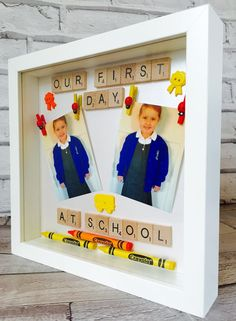 This listing is for a personalised first day at school gift frame. Handmade in a style of your choice, a poem or photo can be added, and available in either a black or white frame. Optional extras include the addition of scatter crystals and gift wrapping. When ordering please add your requirements and I will make a start as soon as possible. Once approved I will securely package the frame and have it safely delivered. Subject to availability dispatch may take up to 7-10 days from ordering…