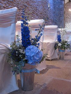 Beautiful Blue Ceremony Arrangements  Laura Coleman Flowers