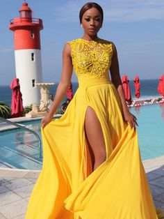 Sexy Prom Dresses A-line Embroidery Sweep/Brush Train Sexy Long Slit Prom Dress JKS261
