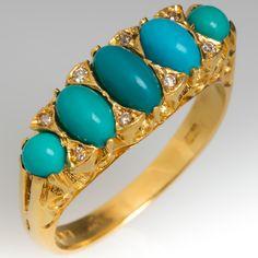 Vintage Turquoise & Single Cut Diamond Ring Detailed 18K Gold