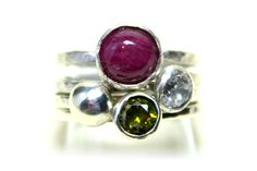 Bowl Set Gemstone Stackers – inspiration for this design was taken from Christmas Baubles.  Ruby, Cubic Zirconia and Sterling silver.  Can be made to specification using your choice of stones.