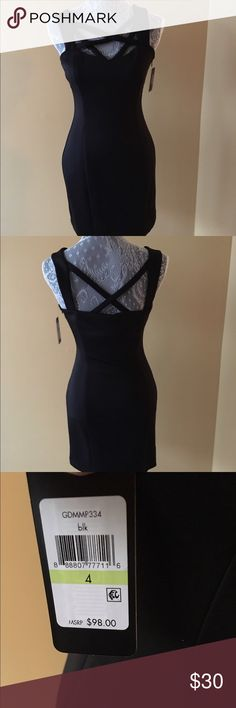 NWT GUESS BLACK CRISS CROSS SLEEVELESS DRESS NWT GUESS BLACK CRISS CROSS SLEEVELESS DRESS.  Lined Fitted dress with criss cross front and back.  Side zip. Size 4 Guess Dresses