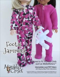 FOOTIE JAMMIES FOR WELLIEWISHERS DOLLS
