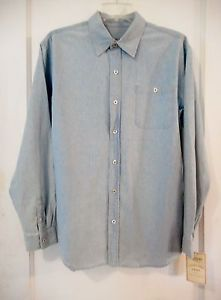 IZOD-Jeans-Shirt-Mens-Long-Sleeve-Button-Front-Chambray-Blue-Denim-Medium-10-12