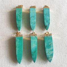 WT-P919 Fashion Design Spear Natural Turquoise Pendant,Exclusive Point Green Turquoise Jewelry For Necklace With 24k Real Gold Plated Stone by WKTjewelry on Etsy