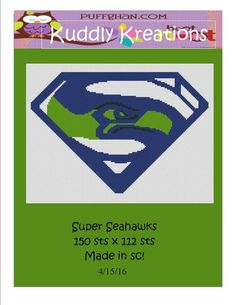 (4) Name: 'Crocheting : Super Seahawks Crochet Graph