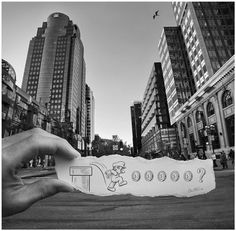 These amazing pictures was created by the talented artist Ben Heine who overlaps hand-drawn art with camera photos, Visit his site to see m. Pencil Camera, Camera Art, Pencil Art, Camera Photography, White Photography, Landscape Photography, Super Mario, Creative Pencil Drawings, Ben Heine