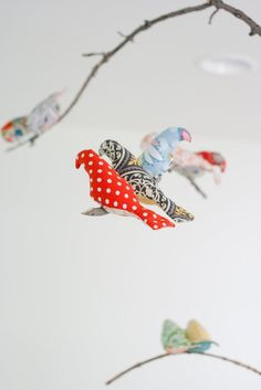 Colorful and patterned cloth birds nursery mobile