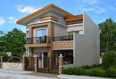 Modern house plan like Dexter model is a 4 bedroom 2 story house featured by pinoyeplans. Three meters from the front boundary or fence is a small porch which opens to the living room and all the way to the dining and kitchen. Two Story House Design, 2 Storey House Design, Unique House Design, Bungalow House Design, House Front Design, Four Bedroom House Plans, Dream House Plans, Two Storey House Plans, Model House Plan