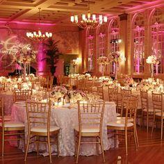 Glam pink and gold wedding reception | Clark+Walker Studio