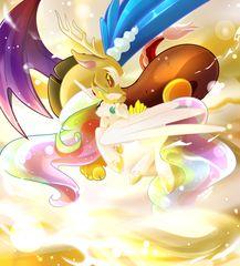 #823874 - artist:aaynra, discord, dislestia, nuzzling, princess celestia, safe, shipping, straight - Derpibooru - My Little Pony: Friendship is Magic Imageboard