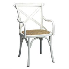 Sherwood Solid Oak Timber Cross Back Dining Armchair with Rattan Seat - White