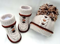 Knit Baby PATTERN Knitting Baby Shoes Baby Boy Girl PATTERN Knitted Baby Uggs Newborn Knit Pattern Hat Infant Booties Baby Set PATTERN Only