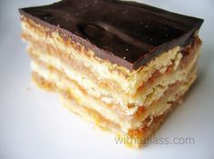 Zserbó Szelet/Gerbeaud Slice..     My grandma made these all the time when I was growing up. I miss them. They taste absolutely divine. They sound not so good based on the ingredients.. but all together, they are something special. If you ever have a chance to try/make these, DO IT! (though I've never made this recipe, so I don't know if it's a good one-- the picture just looked the closest to the way my grandma made it ;D)