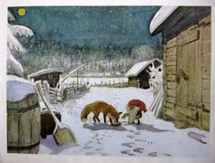 The Fox & The Tomten ~ by Astrid Lindgren, illustrated by Harald Wiberg #art #illustration