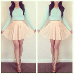 Light coral high waisted skirt   Mint and longsleeves