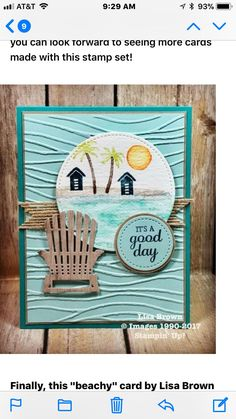 With a salted martini instead of the lounge chair Making Greeting Cards, Greeting Cards Handmade, Nautical Cards, Hand Stamped Cards, Stamping Up Cards, Handmade Birthday Cards, Watercolor Cards, Creative Cards, Cute Cards