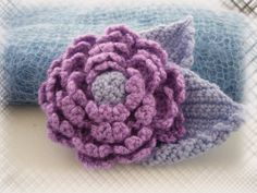 Hand Crochet Large Corsage Brooch Lilac Rose.