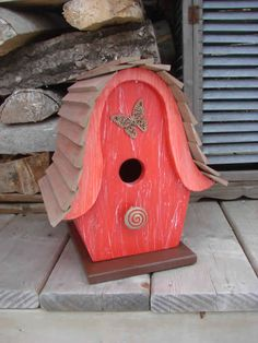Butterfly Red Bird House