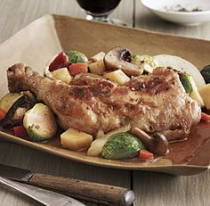 Slow-Cooker Braised Chicken with Bacon, Brussels Sprouts, and Root Vegetables