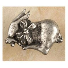 Bunny w/bow-lft knob (Pewter with Copper) (Pack of 10)