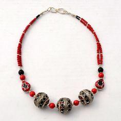 "NSS66 Tibetan Nepalese Handmade Coral Black Howlite White Metal 18"" Necklace  #Eksha #Necklace"