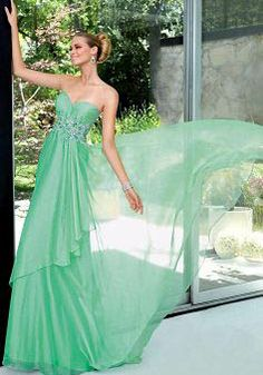 Modern Sweetheart Floor Length Chiffon Empire A line Prom Gown - Lunadress.co.uk